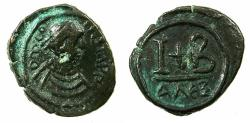 Ancient Coins - BYZANTINE EMPIRE.Tiberius II Constantine AD 578-582.AE.Dodekanummia.Mint of ALEXANDRIA. Varient with no cross obverse.