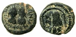 Ancient Coins - BYZANTINE EMPIRE.Justin I and Justinian I 4th April to 1st August AD 527.AE.Pentanummia. Mint of ANTIOCH.