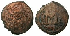 Ancient Coins - BYZANTINE EMPIRE.Justinian I AD 527-565.AE.Follis, struck AD 564-565. Mint of THEOUPOLIS ( ANTIOCH ). ***FINAL YEAR OF REIGN ****