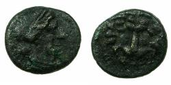 Ancient Coins - SAMOS, Island of IONIA.Circa 3rd cent BC.AE.14mm. Hera.Lion scalp