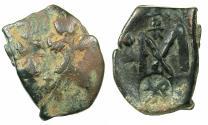 Ancient Coins - BYZANTINE EMPIRE.Heraclius AD 610-641.AE.Follis.Mint of CONSTANTINOPLE.Reverse.Single Heraclian monogram countermark