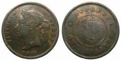 World Coins - CYPRUS.Bristish Administration.Victoria 1837-1901.AE.1 Piastra 1881. Thin One.