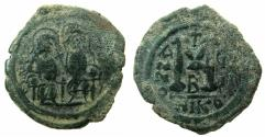 Ancient Coins - BYZANTINE EMPIRE.Justin II AD 565-578.AE.Follis,struck AD 573/74.Mint of NIKOMEDIA.