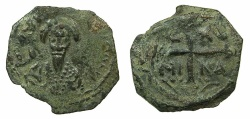 World Coins - CRUSADER STATES.Principality of Antioch.Tancred AD 1104-1112.AE.Follis.2nd Type.~~~Facing bust of Tancred holding naked sword.