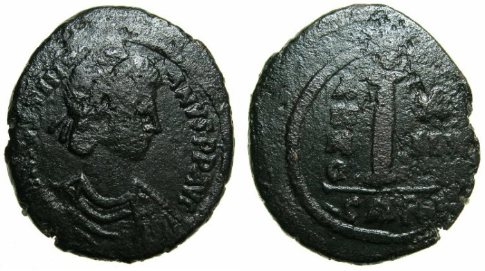 Ancient Coins - BYZANTINE EMPIRE.Justinian I AD 527-565.AE.Decanummia, struck AD 539/540.Mint of CARTHAGE.