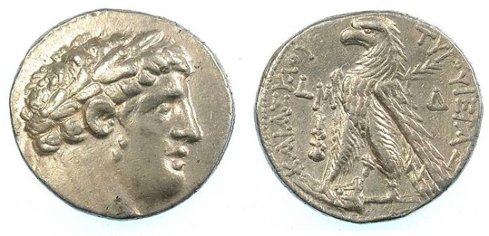 Ancient Coins - PHOENICIA:Tyre.AR.Shekle 14.27g Year 40= 87/6 BC. Melquath / Eagle