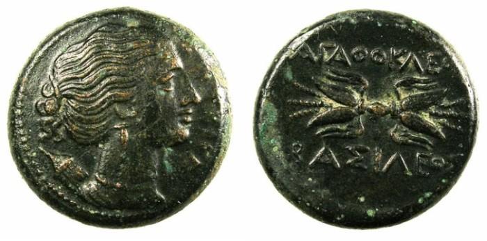 Ancient Coins - SICILY.SYRACUSE.Agathocles 317-289 BC.AE.21.Artemis.Rev.Thunderbolt.