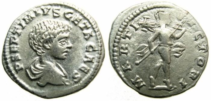 Ancient Coins - ROME.Geta Caesar AD 198-209.AR.Denarius, undated issue circa 198-200.Mint of LAODICEA AD MARE.~~~Mars advancing