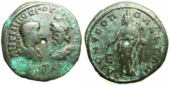 Ancient Coins - MOESIA INFERIOR.DIONYSOPOLIS.Gordian III and Serapis AD 238-244.AE.5 Assaria.~#~.Homonia( Concordia ) standing