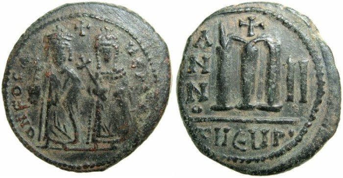 Ancient Coins - BYZANTINE EMPIRE.Focas AD 601-610.AE.Follis.AD 603/4.Mint of ANTIOCH-THEOUPOLIS.