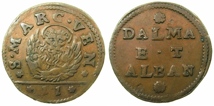 World Coins - ITALY.VENICE for DALMATIA AND ALBANIA.AE.Gazzetta ( 2 Soldi ).Issued 1684 and 1691.varient with Arabic denomination.