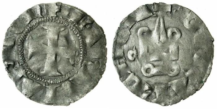 Ancient Coins - CRUSADER.ACHAIA.Mahault of Hainault AD 1316-1321.Bi.Denier.Type MA2.Gothic letter M .