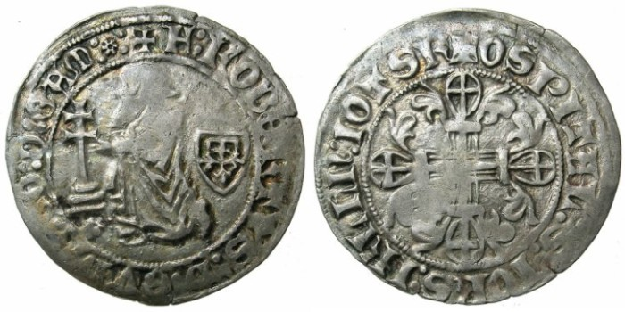 Ancient Coins - CRUSADER STATES.RHODES.Robert de Juilly AD 1374-1376.AR.Gigliato.Unpublished varient.