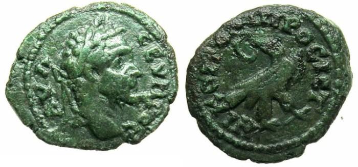 Ancient Coins - MOESIA INFERIOR.NIKOPOLIS AD ISTRUM.Septimius Severus AD 192-211.AE.18.Eagle with wreath.