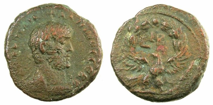Ancient Coins - EGYPT.ALEXANDRIA.Gallienus AD 253-268.Bi.Tetradrachm.Rev.Eagle,wreath above.