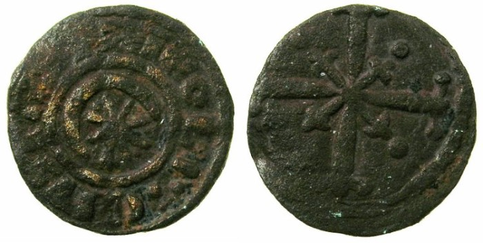 Ancient Coins - CRUSADER.TRIPOLI.Raymond II AD 1137-1152 or Raymond III AD 1152-1187.AE.Fraction.Type 4a.Struck circa 1145 - circa 1173/4 .(
