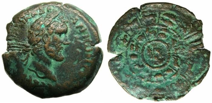 Ancient Coins - EGYPT.ALEXANDRIA.Antoninus Pius AD 138-161.AR.Drachma.AD 144/45.Double Zodiac Wheel.