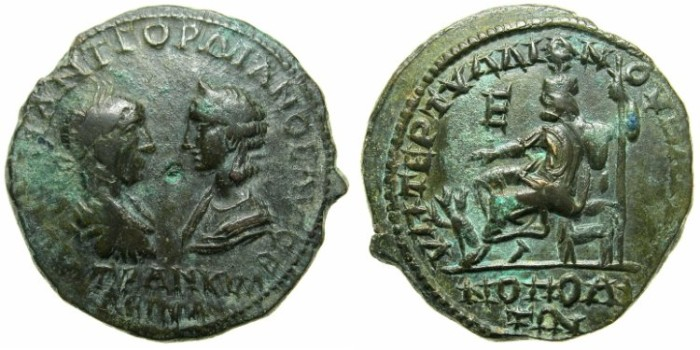 Ancient Coins - MOESIA INFERIOR.MARCIANOPOLIS.Gordian III and Tranquillina AD 238-244.AE.5 Assaria.~#~.Hades - Serapis enthroned, Cerberus in front.