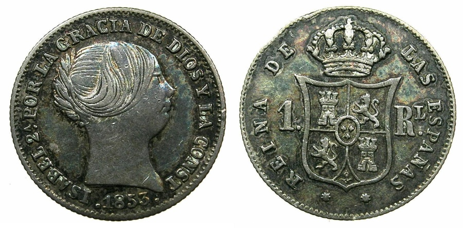 World Coins - SPAIN.Isabel II 1833-1868.AR.1 Real 1853.BARCELONA.