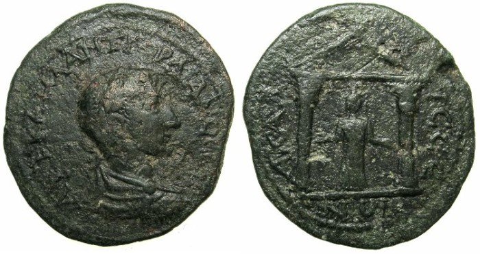 Ancient Coins - LYCIA.ACALISSUS.Gordian III AD 238-244.AE.33mm.~#~.Goddess within distyle temple.###RARE COLONIAL ISSUE FOR GORDIAN III###
