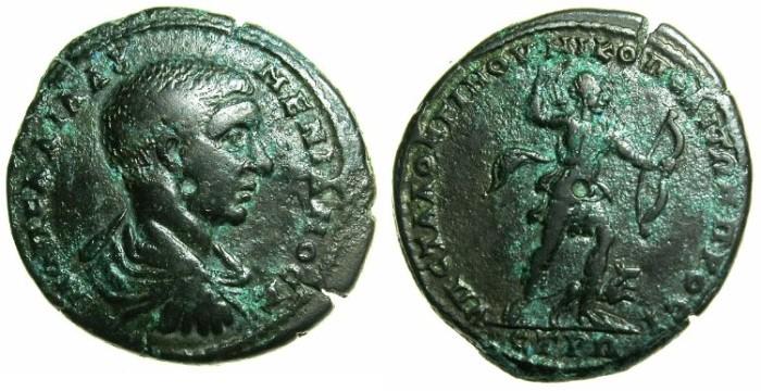 Ancient Coins - MOESIA INFERIOR.NIKOPOLIS AD ISTRUM.Diadumenian Caesar AD 218 underMacrinus AD 217-218. ~#~.Artemis with hound.