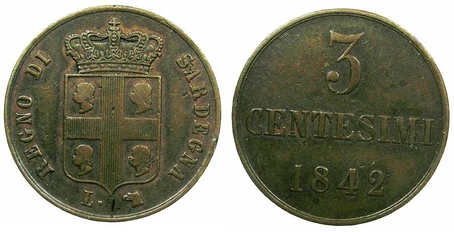 Sardinia carlo alberto 1831 1849 ae 3 centesimi 1842 torino for Coin torino