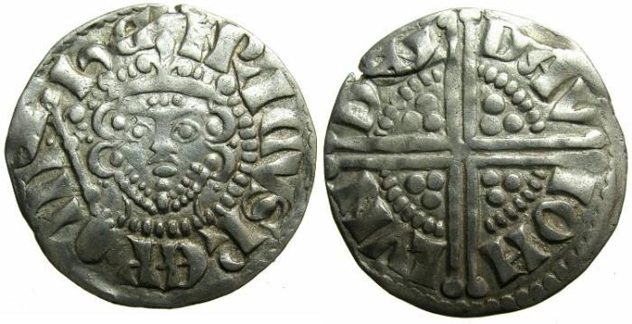 "Ancient Coins - ENGLAND.Henry III AD 1216-1272.AR.Penny.""Long cross""class 5C.Moneyer DAVID.Mint of LONDON."