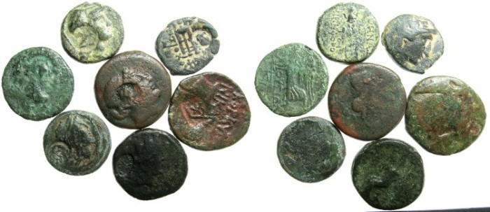 Ancient Coins - GREECE.Mixed group of seven bronze coins all countermark.