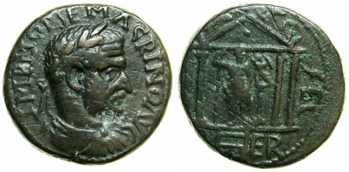 Ancient Coins - PHOENICIA.BERYTUS.Macrinus AD 218-218.AE.22.8mm.~#~.Astarte within tetrastyle temple.