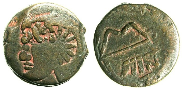 Ancient Coins - BLACK SEA.PANTIKAPAION.Circa 3rd Cent BC.AE.20.Beadless Pan.Bow and arrow.Countermarked 12 rayed star.