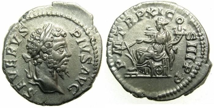 Ancient Coins - ROMAN.Septimius Severus AD 192-211.AR.Denarius AD 203.~~~Fortuna seated.