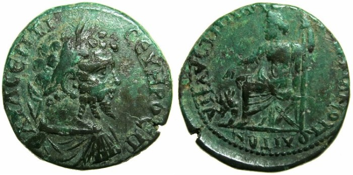 Ancient Coins - MOESIA INFERIOR.MARCIANOPOLIS.Septimius Severus AD 193-211.AE.26mm.~#~.Hades-Serapis enthroned with Cerberus in front.