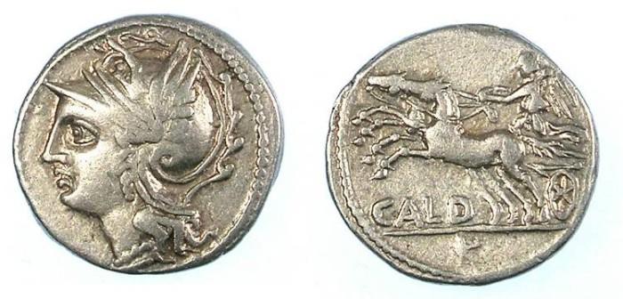Ancient Coins - ROME.RUBUBLIC.C.Coelius Caldus 104BC.AR.Denarius.Roma/Victory in Biga.