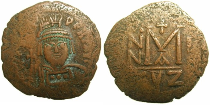 Ancient Coins - BYZANTINE EMPIRE.Heraclius AD 610-641.AE.Follis.AD 610/11.Mint of CYZICUS.