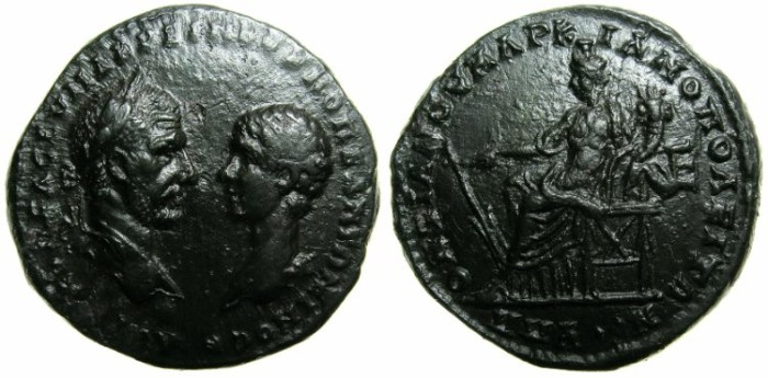 Ancient Coins - MOESIA INFERIOR.MARCIANOPOLOS.Macrinus and Diadumenian AD 217-218.AE.5 Assaria.~~~Fortuna Redux seated