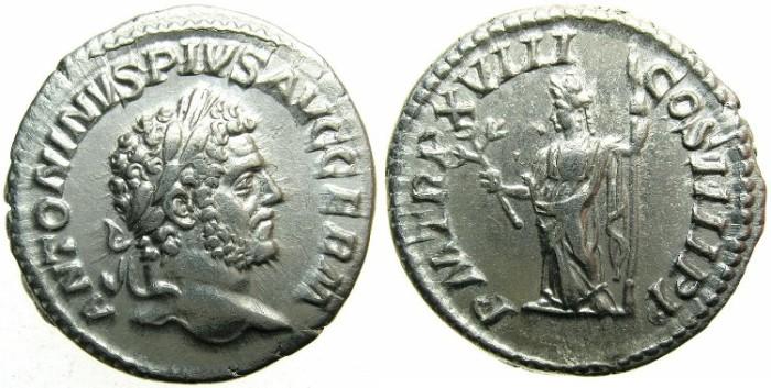 Ancient Coins - ROME.Caracalla Sole emperor AD 212-217.AR.Denarius.AD 215.~~~PAX standing left.