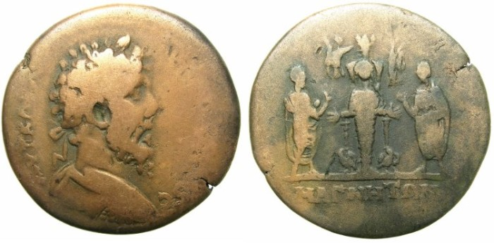 Ancient Coins - IONIA.MAGNESIA AD MAEANDRUM.Lucius Verus AD 161-169.AE.35mm.~#~Cultus statue of Artemis Leucophryene.