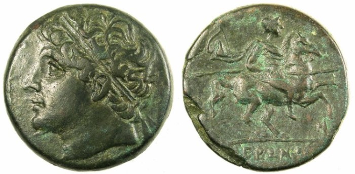 Ancient Coins - SICILY.SYRACUSE.Hieron II 275-216 BC.AE.26.Hieron II.Rev.Calveryman riding right