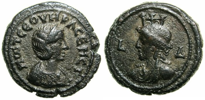 Ancient Coins - EGYPT.ALEXANDRIA.Otacilia Severa, wife of Philip I, Augusta AD 244-249.Billon Tetradrachm, struck AD 246/247.~#~.Bust of Alexandria wearing turreted crown.