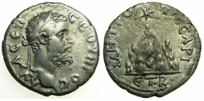 Ancient Coins - CAPPADOCIA.CAESAREA-EUSEBIA.Septimius Severus AD 193-211.AR.Denarius, struck AD 193/194.~#~.Mount Argaeus.