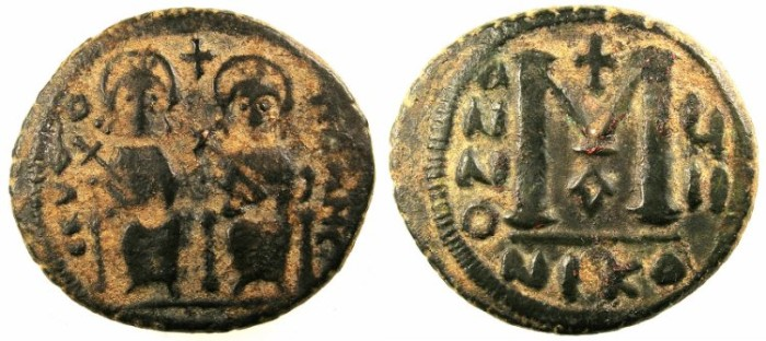 Ancient Coins - ARAB-BYZANTINE.SCYTHOPOLIS ( BETH SHAN ) 7th C.AD.AE.Follis.