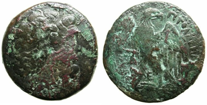 Ancient Coins - PTOLEMAIC EMPIRE.EGYPT.ALEXANDRIA.Ptolemy II Philadelphos 283-246 BC.AE.47.2mm.~~~ Zeus Ammon.~#~.Eagle.