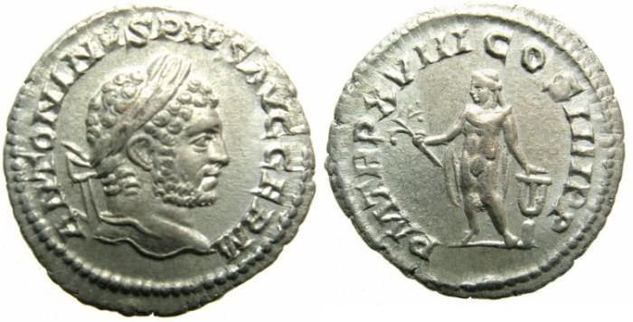Ancient Coins - ROME.Caracalla Sole emperor AD 212-217.AR.Denarius.AD 215.Apollo,? lyre on altar.