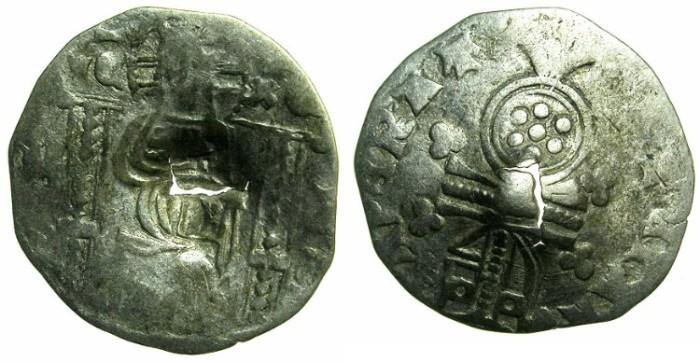 Ancient Coins - SERBIA.Stefan Uros IV Dusan as Emperor AD 1345-1355.AR.Dinar.~~~Bulgarian countermark plain square incuse.