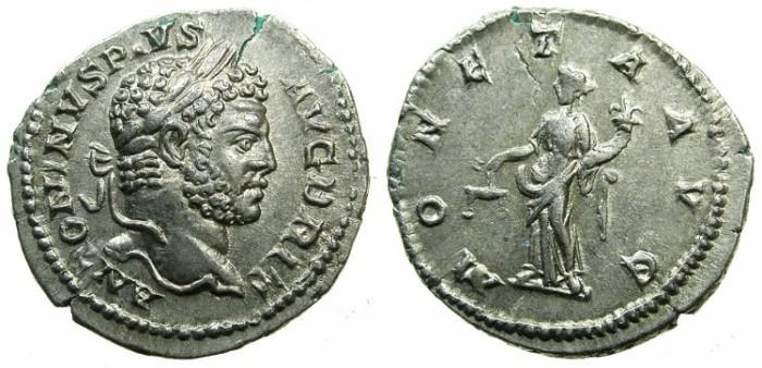 Ancient Coins - ROMAN.Caracalla Augustus.AR.Denarius undated issued c.210-213.Augustus BRIT ~~~MONETA standing left holding scales.