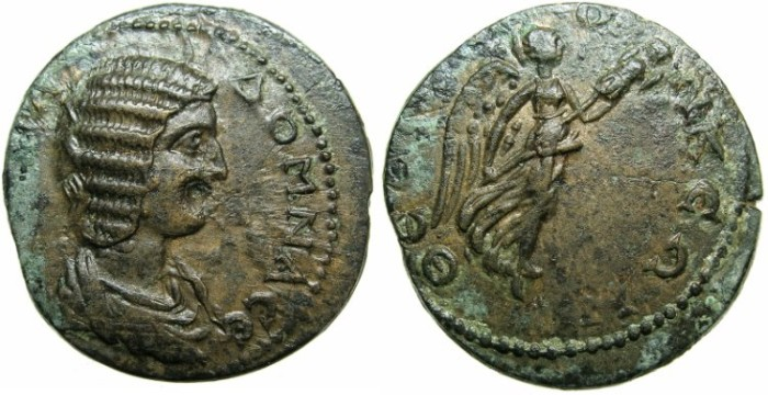 Ancient Coins - MACEDON.Thessaloniki.Julia Domna, wife of Septimius Severus AD 196-211.AE.25.Nike.