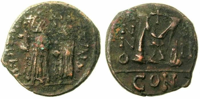 Ancient Coins - BYZANTINE EMPIRE.Heraclius AD 610-641.AE.Follis, struck AD 613/614.Mint of CONSTANTINOPLE.