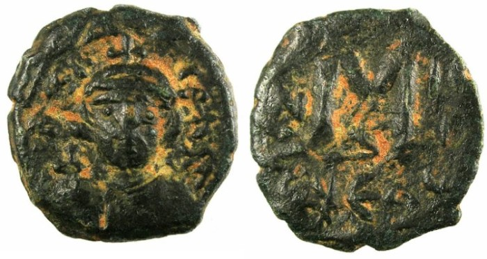 Ancient Coins - BYZANTINE EMPIRE.Constans II AD 641-668.AE.Follis.Mint of Constantinople.Regnal year 3, officina Δ
