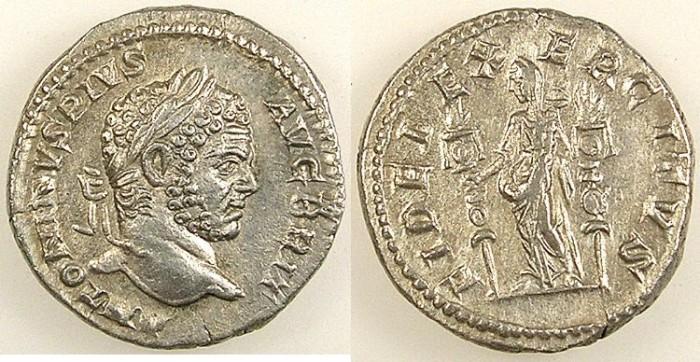 Ancient Coins - ROMAN.Caracalla AD 198-217.AR.Denarius.Fides standing.mint of Rome.