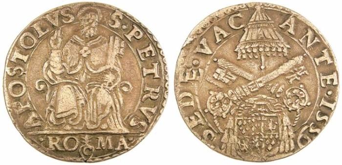 Ancient Coins - ITALY.VATICAN.Sede Vacante Aug.-Dec. 1559.AR.Testone 1559.St.Peter.